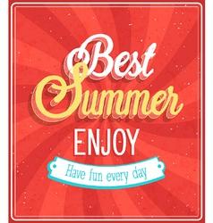 Best Summer Enjoy typographic design vector image