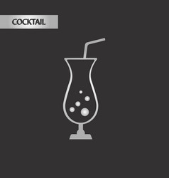 Black and white style glass cocktail vector