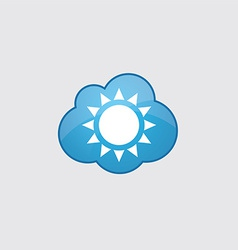 Blue cloud sun icon vector