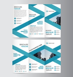 Blue label elegance business trifold template vector