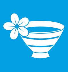 Bowl with water for spa icon white vector
