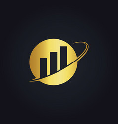 Business finance round gold logo vector