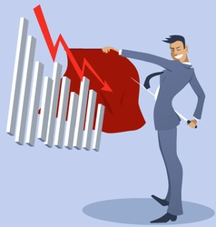 Businessman bullfighter with an attacking graph vector