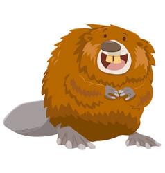 cartoon beaver animal character vector image vector image
