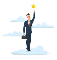 Cheerful businessman reaching up to get a golden vector