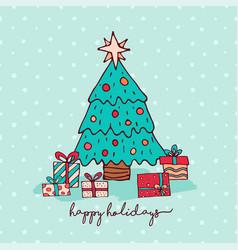 christmas holiday pine tree cartoon greeting card vector image vector image