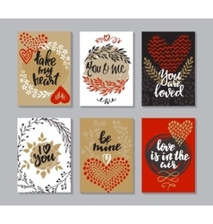 Collection of romantic and love cards with hand vector image vector image