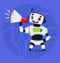 Cute robot holding megaphone digital marketing vector
