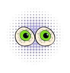 Eyeballs icon in comics style vector