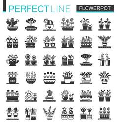 Flowerpots classic black concept icons set vector