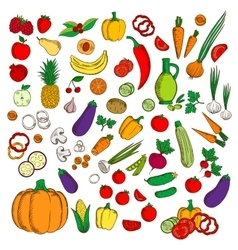 Fresh healthy farm fruits vegetables flat icons vector image