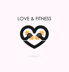 Heart sign and dumbbell iconfitness and gym vector