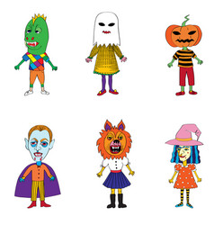 helloween costumes drawings vector image vector image