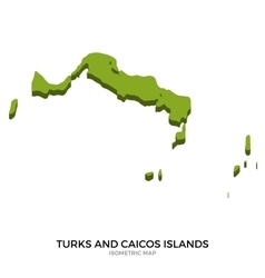 Isometric map of turks and caicos islands detailed vector