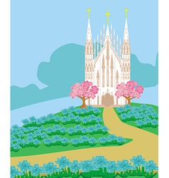 landscape with a beautiful Catholic church vector image