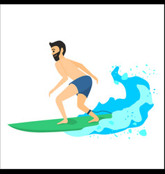 Man riding on surfboard vector