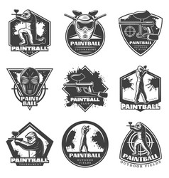 monochrome vintage paintball club labels set vector image