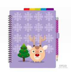 note book violet color with pencil vector image