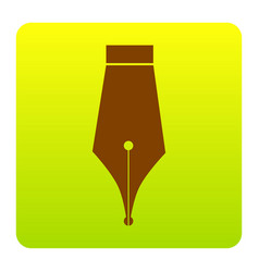 pen sign brown icon at green vector image