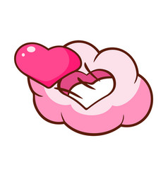 pink heart and cloud in the shape of heart vector image