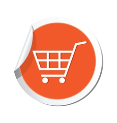 shop basket icon orange sticker vector image
