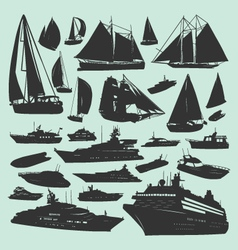 Silhouettes of boats vector