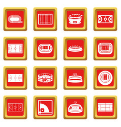 Sport stadium icons set red vector