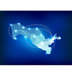 Uzbekistan country map polygonal with spot lights vector