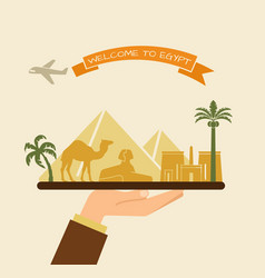 welcome to egypt attractions of egypt on a tray vector image vector image