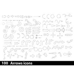 100 hand-drawn arrows icons vector