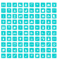 100 preschool education icons set grunge blue vector
