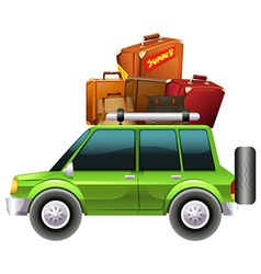 Green jeep loaded with luggages vector