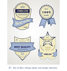 collection of blue vintage labels vector image
