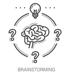 Brainstorming line icons vector
