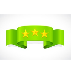Three stars on green band vector