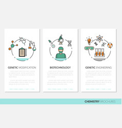 Chemistry business brochure template linear vector