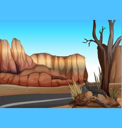 Empty road in the western desert vector