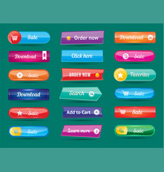 Colorful website buttons design vector