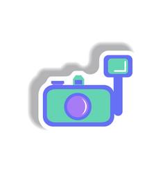 In paper sticker style camera vector