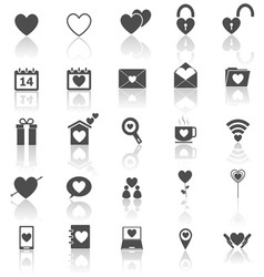 Love icons with reflect on white background vector