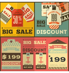 Tag price flat retro vector
