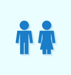 Blue man and woman icons for toilet or restroom vector