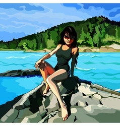 Girl sitting on the rocks by the river vector