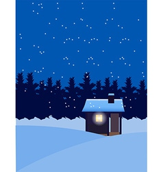 House in winter snow vector