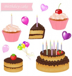 Birthday cake set vector