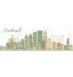 Abstract montreal skyline with color buildings vector
