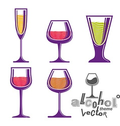 Colorful glasses collection martini wine cognac vector