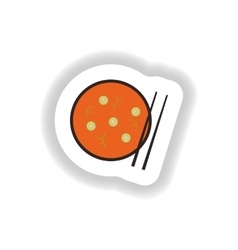 Stylish paper sticker miso soup and chopsticks vector