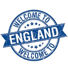 Welcome to england blue round ribbon stamp vector