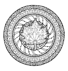 Autumn mandala tribal doodle with maple leaf vector